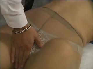 Beautiful Asian girls seduced close to pantyhose