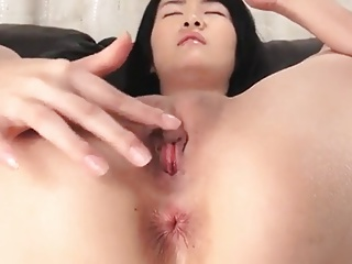 J15 Asian teen spreads and rubs her clit