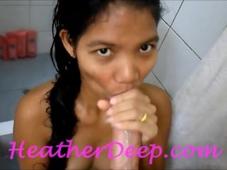 Heather Deep 1st Shower deep throat cum swallow