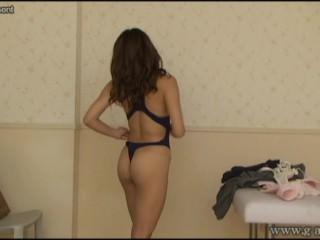 Japanese schoolgirl Rena Oomori touch swimsuit