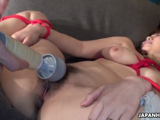 Asian busty indulge tied up to repugnance toy fucked