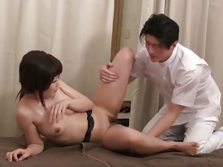 Subtitled Japanese clinic massage spoken sex relieve in HD
