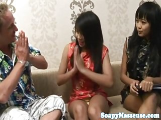 Asian masseuse wanks cock with feet and hooves