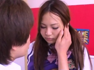 Pretty asian schoolgirl shows prudish pussy and rides athlete