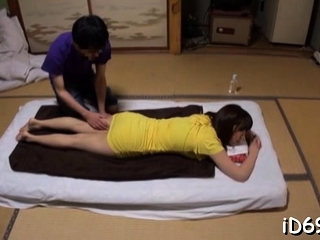 Japanese floozy with massive juggs feels wang almost wet snatch