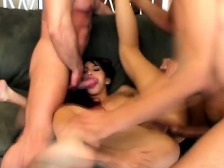 Slutty Asian Enjoys Hardcore Double Penetration Sex