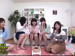 Lovely Japanese teen enjoys raunchy group sex