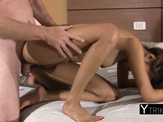 Asian amateur teen encircling taken surrounding hotel acreage
