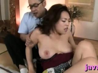 Obese titted oriental milf rides hard penis vigorously