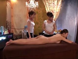Japanese Lesbian massage a trois