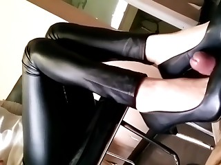 Chinese sexy femdom trample shoejob cumshot