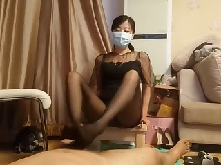 chinese motor coach stocking footjob