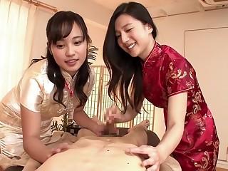 Hottest Japanese girl to Horny Threesome, CFNM JAV movie
