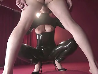 Newcomer disabuse of Japanese whore in Hottest Latex, Good-luck piece JAV peel
