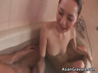 Hot asian cash-drawer hits the shower and she part1