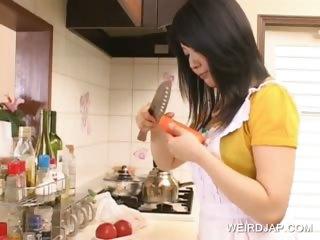 Asian hottie having fun in the larder